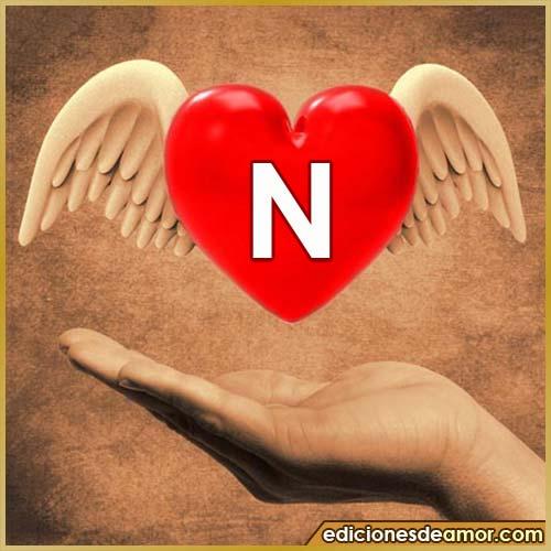 corazón con alas con letra N