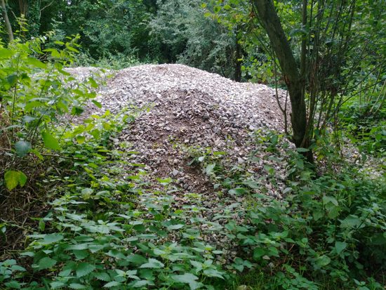 One of two piles of rubble either side of the path to Gobions Pond Image by North Mymms News released via Creative Commons BY-NC-SA 4.0