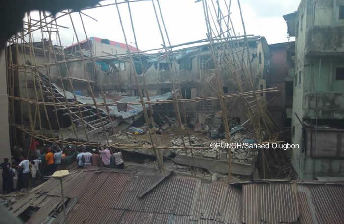 Tragic: Three Storey building collapses in Lagos
