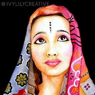 Indian girl watercolor acrylic portrait painting