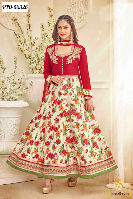 Tv Serial actress Jeevika red cream color bhagalpuri anarkali salwar suit online at lowest price in Surat India