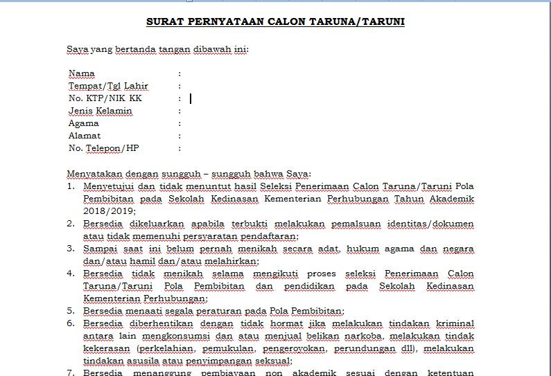 Surat Pernyataan Calon Taruna Taruni Anakciremai