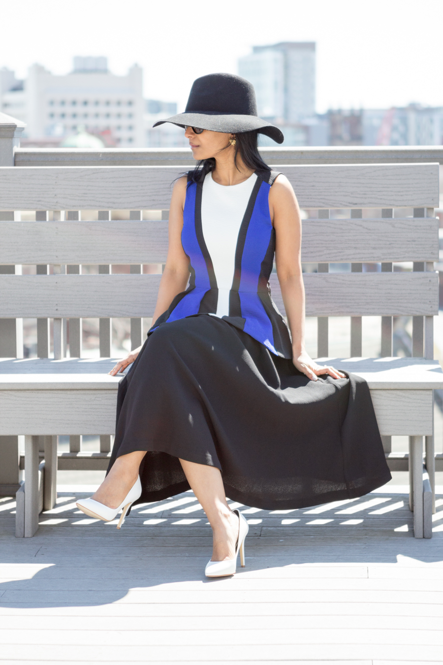 circle skirt, peplum top, spring fashion, white pumps, charles david, color-blocked, bright blue, black floppy hat, sporty chic, minimalist, spring lookbook, petite fashion, mom style, mom fashion, boston street style, lady-like
