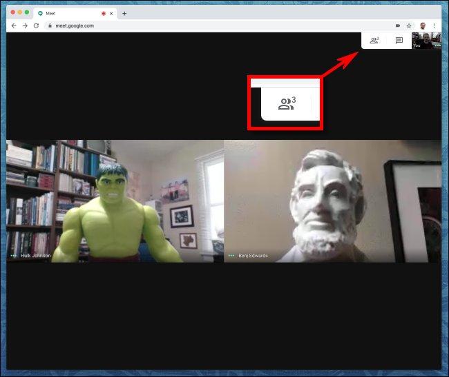 انقر فوق رمز الناس في Google Meet