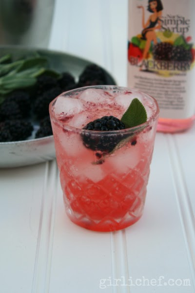 Blackberry Sage Whiskey Fizz + Not So Simple Syrup Giveaway | www.girlichef.com