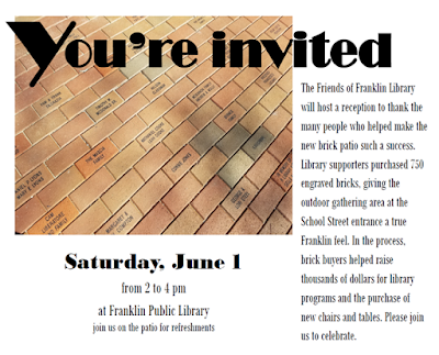 You're Invited - A reception to celebrate the completion of the Library patio - Jun 1