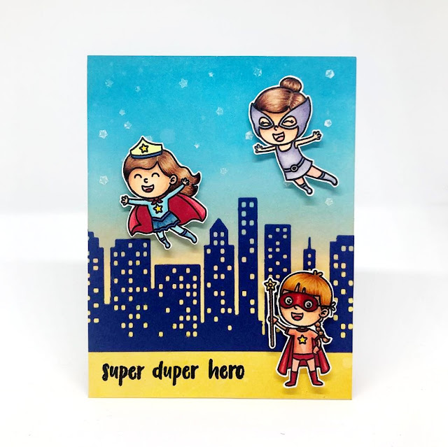 Sunny Studio Stamps: Super Duper Cityscape Border Customer Card by Kary Lim