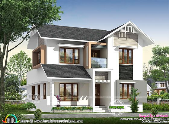 mixed roof 4 bedroom house rendering 1930 sq-ft