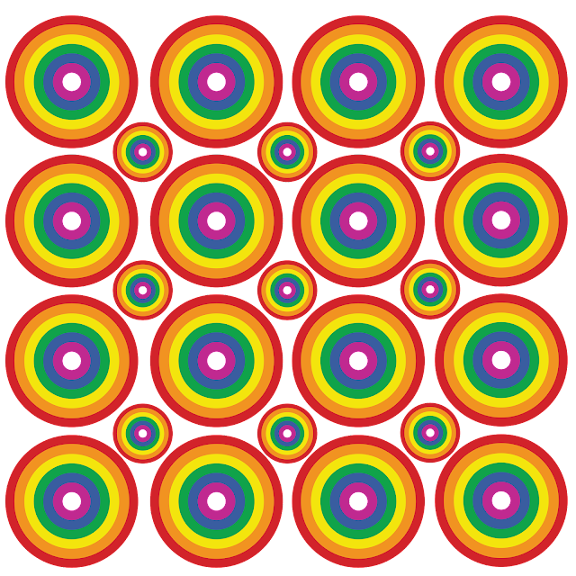 Gay Pride - Circle Rainbow Pattern of Pride Silhouetted
