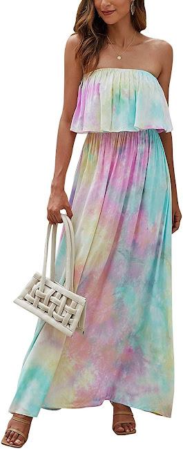 Good Quality Tie Dye Strapless Maxi Dresses