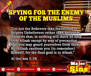 MAJOR SIN.69.2. SPYING FOR THE ENEMY OF THE MUSLIMS