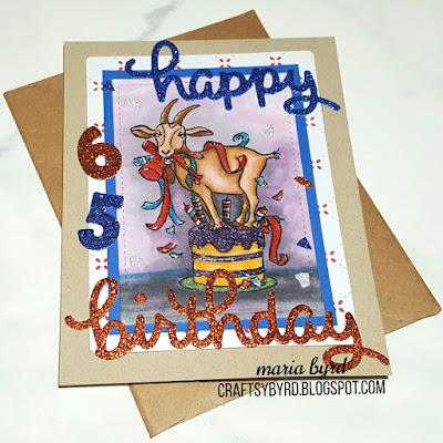 Funny 65th Old Goat Birthday Glitter card made using Art Impressions, Lawn Fawn Scripty stamps. Handmade by Maria Byrd | CraftsyByrd.blogspot.com
