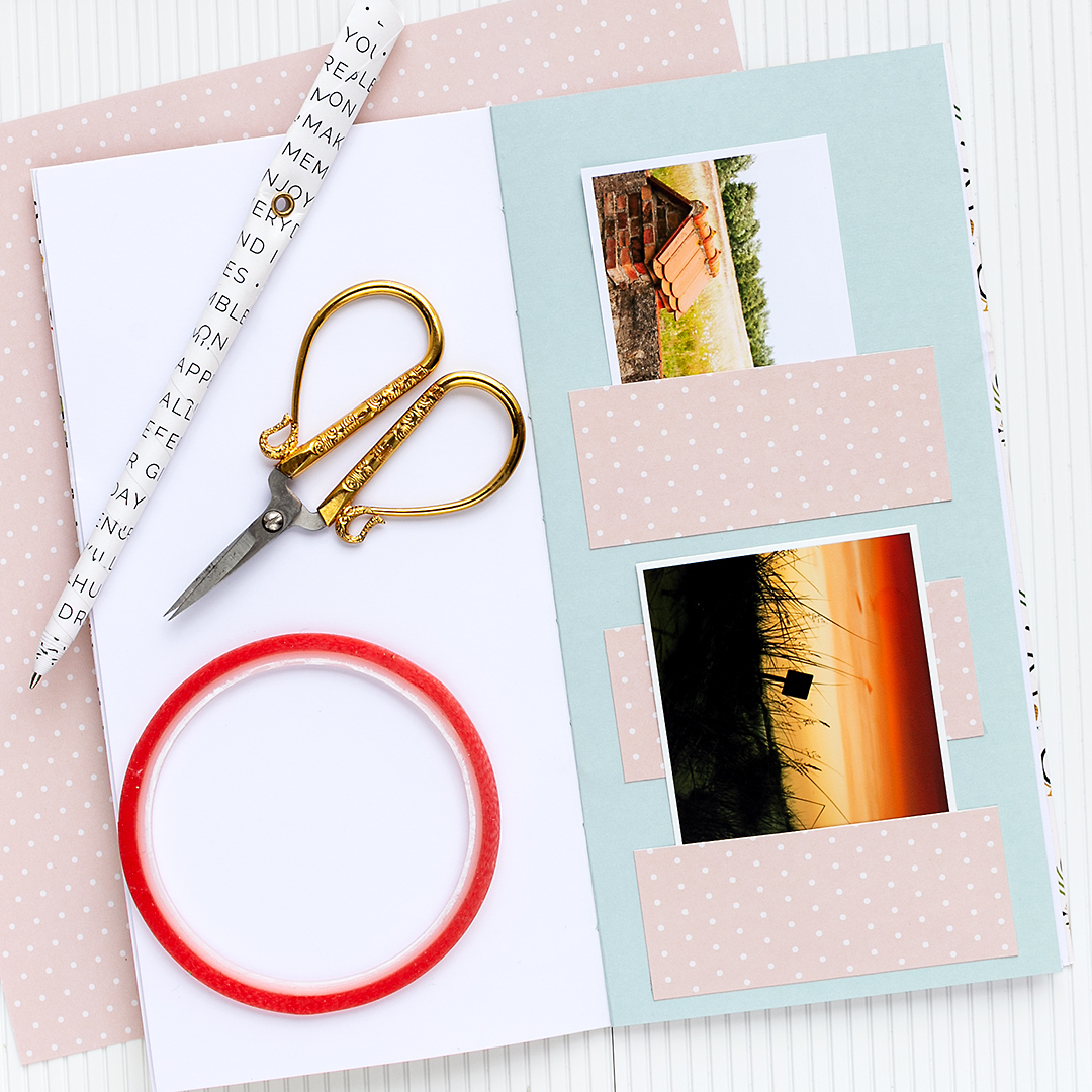 Create slip in pockets from paper strips and use double-sided tape to glue the strips into your journal