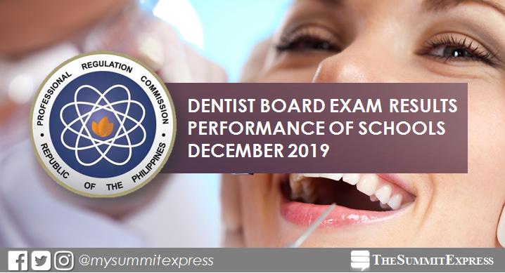 PERFORMANCE OF SCHOOLS: December 2019 Dentist board exam results