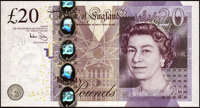 Bank of England Bank Notes‎ 20 Pound Sterling note 2007 Queen Elizabeth II