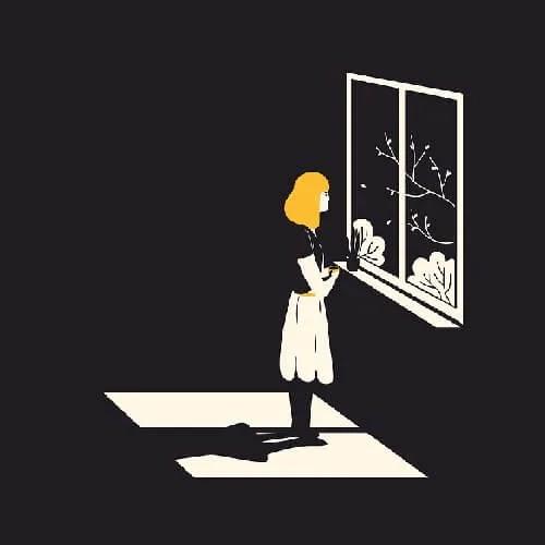 alone girl waiting at window