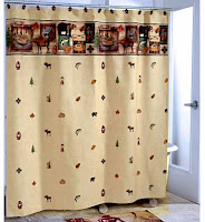 Bathroom Camping Themed Fabric Shower Curtain