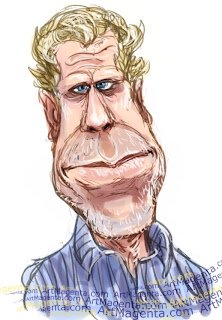 Ron Perlman caricature cartoon. Portrait drawing by caricaturist Artmagenta