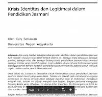 Contoh Jurnal Krisis Identitas Dan Legitimasi Dalam  Pendidikan Jasmani Pdf Download