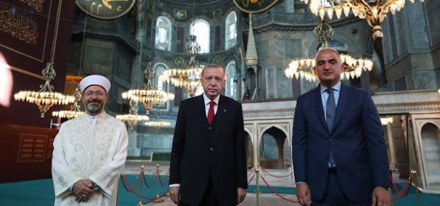 Presiden Turki, Erdogan, foto bersama di Hagia Sofia (dok.anews.com.tr)
