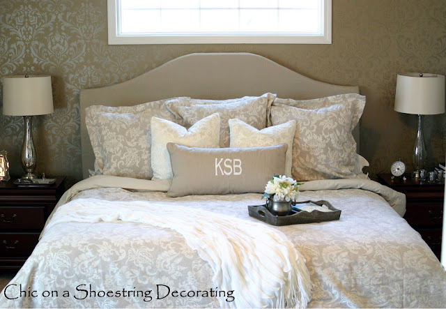 diy upholstered headboard, linen bedding at Chic on a Shoestring Decorating blog