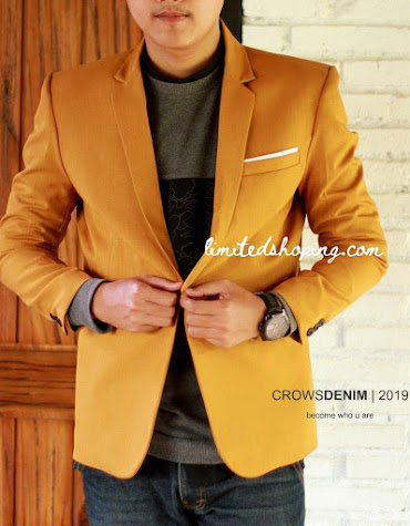 limited shoping bk04 blazer single button mustard kancing satu
