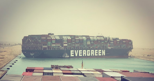 The EverGiven Cargo Ship in Suez Canal
