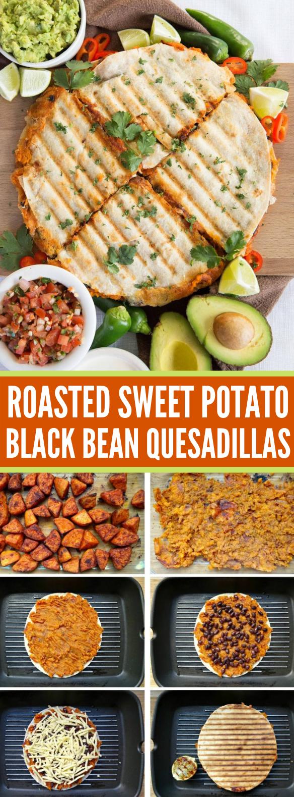 Roasted Sweet Potato and Black Bean Quesadillas #vegetarian #heartydinner
