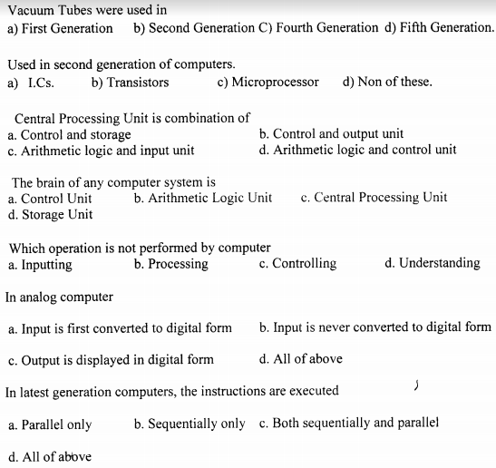 MCQs on Computer Fundamental Bits Questions and Answers ...
