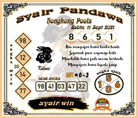 Syair Pandawa HK Sabtu 11-Sep-2021