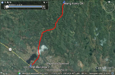Screen capture Google Earth jalan dari persimpangan RM Manjabal 2 ke arah JPN