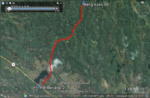 Screen capture Google Earth jalan dari persimpangan RM Manjabal 2 ke arah JPN