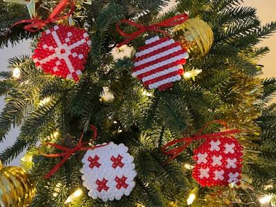 Hama bead Christmas ornaments on the tree