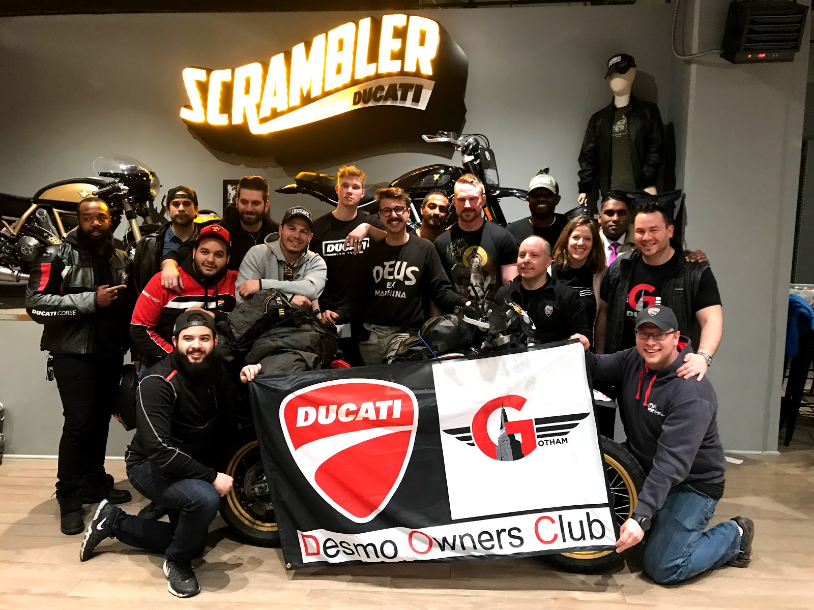 Gotham Ducati Desmo Owners Club, Tigh Loughhead and Henry Crew of 35000miles Guiness Book World Record Holder