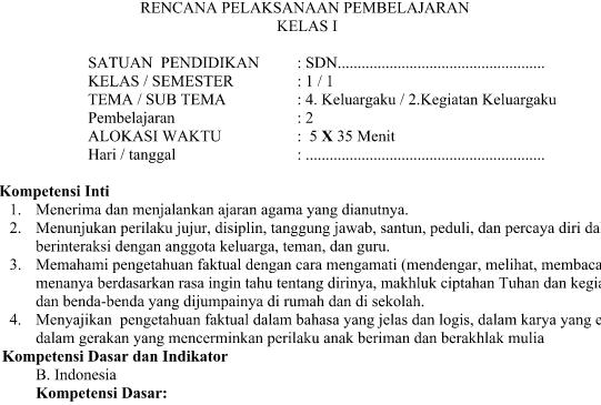 RPP SD Kelas 1 Kurikulum 2013 Revisi Tema 4 Subtema 2 Pembelajaran 2