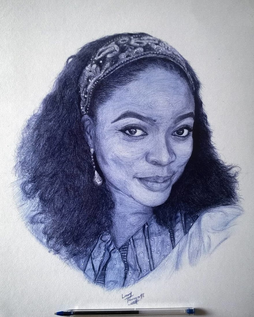 01-Birthday-Commission-Larry-Tamara-Ballpoint-Pen-Portraits-Progression-Drawings-www-designstack-co