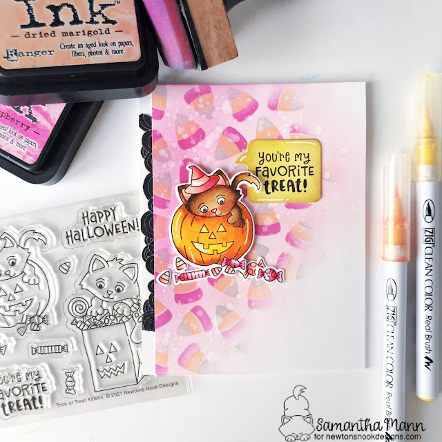 Halloween Kittens and Candy Corn Card by Samantha Mann   Trick or Treat Kittens Stamp Set and Candy Corn Stencil Set by Newton's Nook Designs #newtonsnook