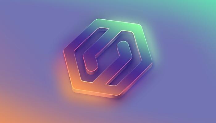 Close Up 3D Flow Logo Mockup