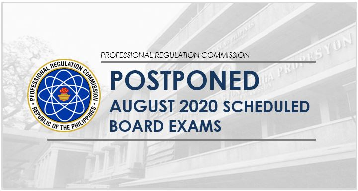 PRC postpones August 2020 scheduled board exams