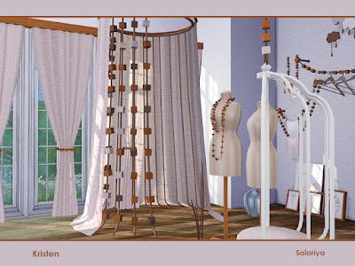 Kristen, part 2 Кристен, часть 2 The Sims 4 Набор декоративных и функциональных предметов для любых ваших комнат. Имеет 11 предметов, 2 цветовые палитры. Предметы в наборе: -вешалки, -жилеты, -два вида манекенов, -ткань с бисером, -занавес, -два вида картин, -два вида перегородок, -кресло с подлокотниками. Автор: soloriya