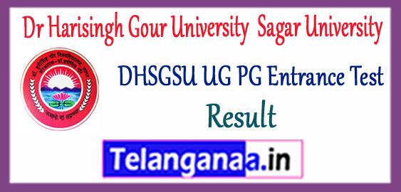 DHSGSU Dr Harisingh Gour University Sagar University UG PG Entrance Test Result 2018