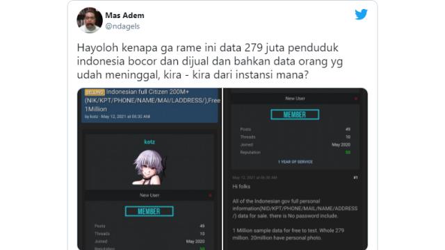 Heboh 279 Juta Data Penduduk Indonesia Diduga Diperjualbelikan