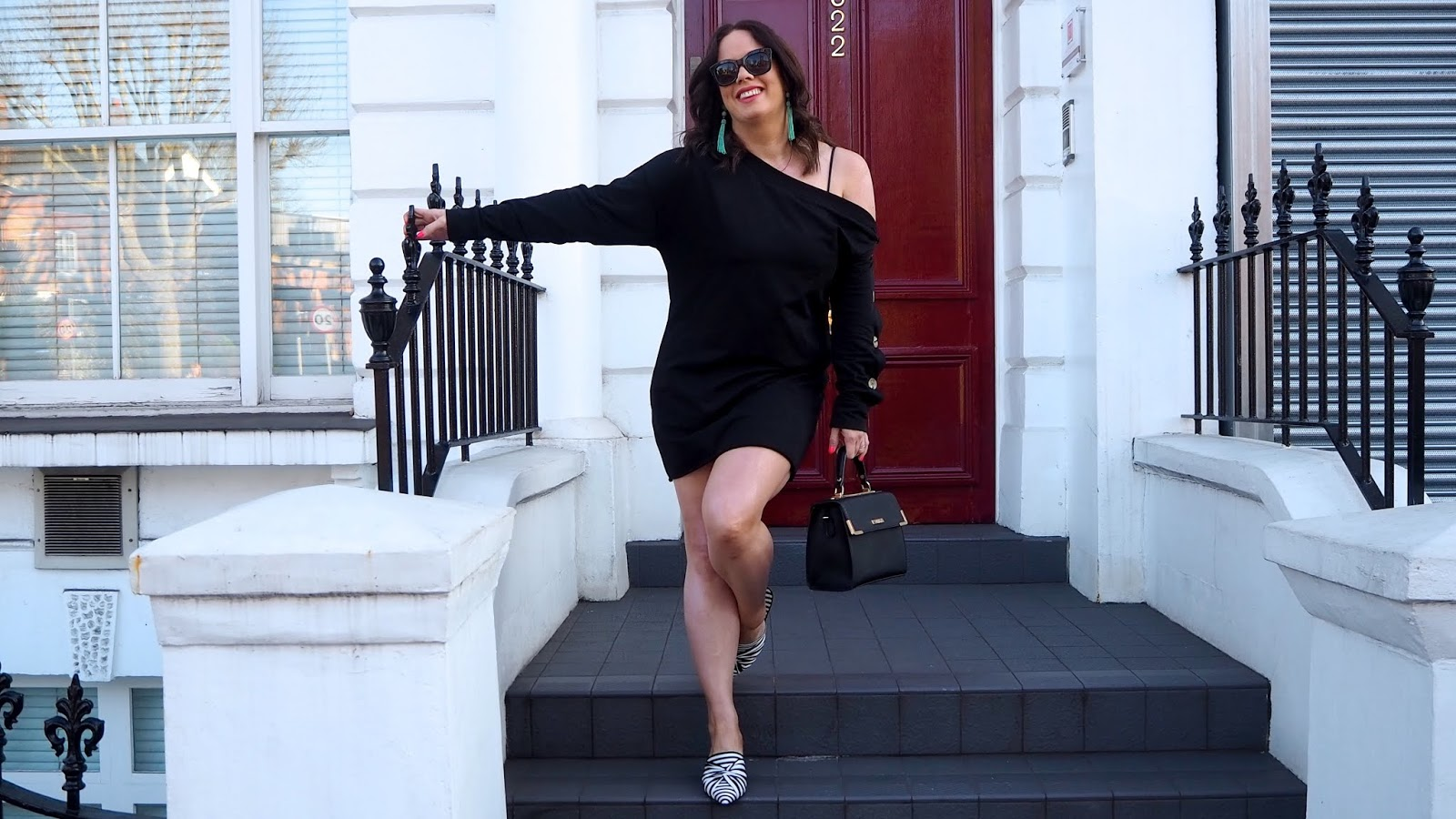 black off the shoulder sweat dress with buttons