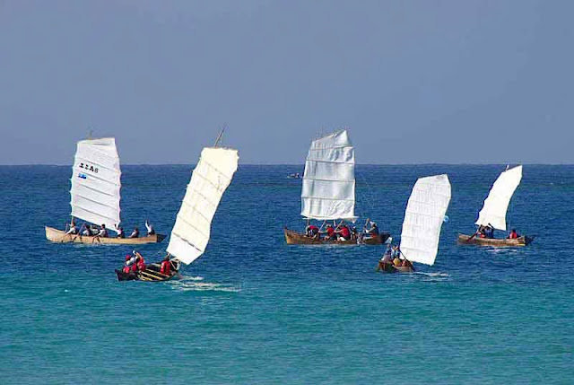 sailing sabani boats compete at sea