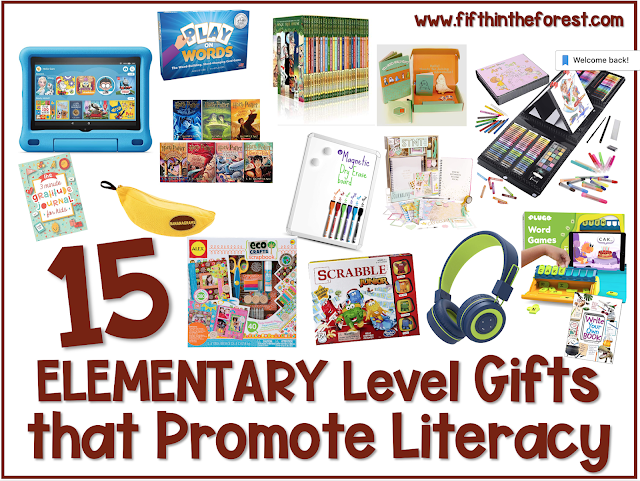 Title Image for 15 Elementary Level Gifts that Promote Literacy