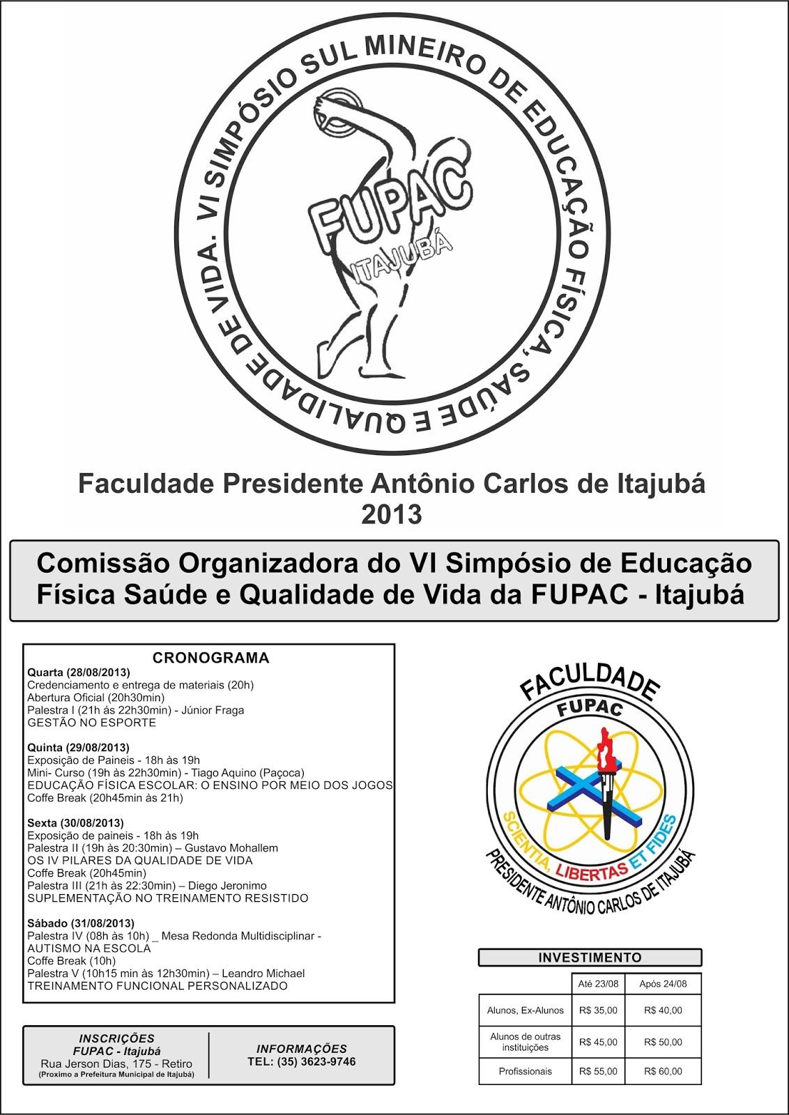 VI SIMPÓSIO DE EDUCAÇÃO FÍSICA, SAÚDE E QUALIDADE DE VIDA