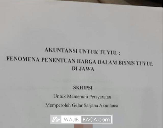 Angkat Tema Bisnis Tuyul, Skripsi Mahasiswa Akuntansi Universitas Surabaya Ini Bikin 'Greget'