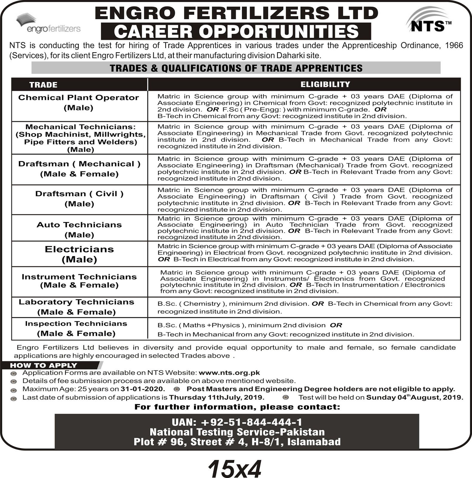 Engro Fertilizer Limited Jobs 2019 By NTS