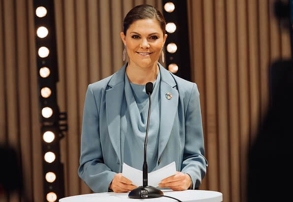 Crown Princess Victoria wore a Narina blazer, Rosaria trousers and Volon mist blue silk top, blouse from Tiger of Sweden