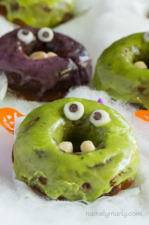 Recipe for Halloween donuts made to look like monsters